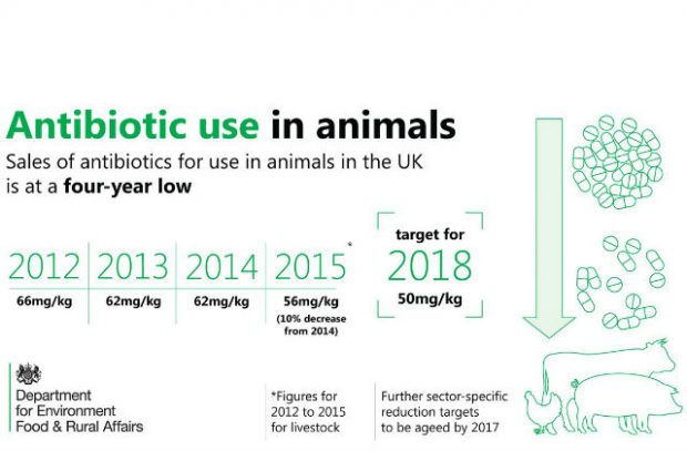 Graphic showing UK sales of antibiotics for animals are at a 4-year low
