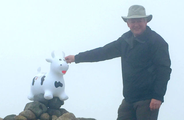 Robert Heuy and inflatable cow cairn top of Slieve Donard.