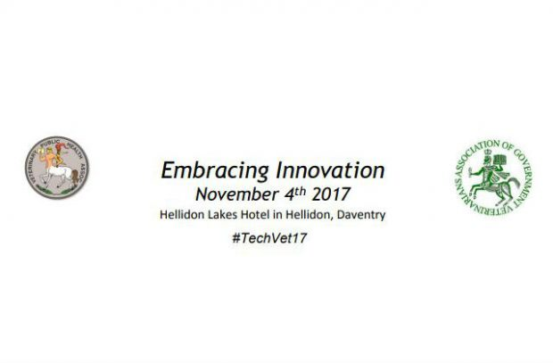Logos of the Association of Government Vets and Veterinary Publish Health Association next to the title of the November 2017 conference: Embracing Innovation