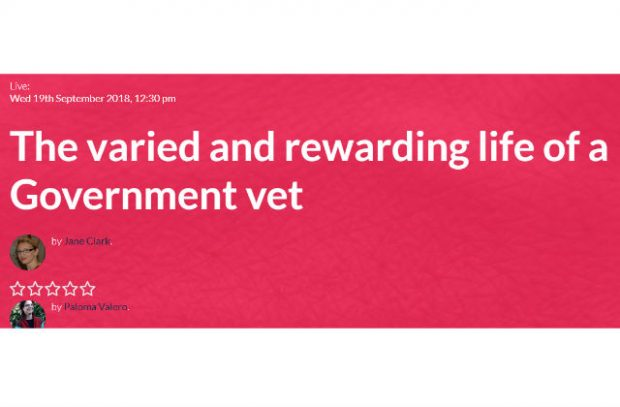 A Screengrab of the Webinar Title Screen Called The Varied and Rewarding Life of a Government Vet