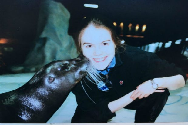 Caroline with a seal