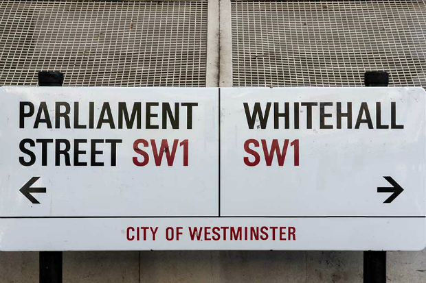 A street sign indicating parliament street to the left and Whitehall to the right.