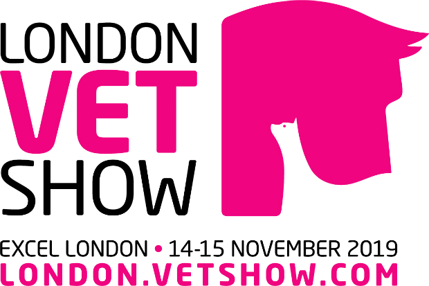 Logo for London Vet Show 2019 featuring an animal silhouette