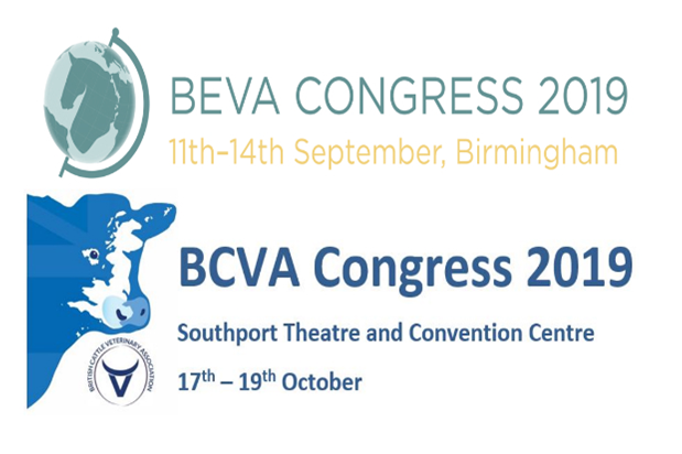 Logo for BEVA Congress 2019 featuring a globe and Logo for BCVA Congress 2019 featuring a cow