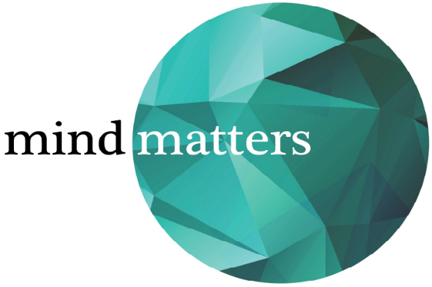 mind matters logo with the matters word inside a circle