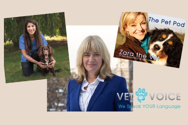 The vet voice logo featuring images of (left to right) Daniella Dos Santos, Christine Middlemiss and Zara Boland