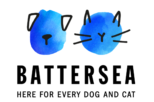 Battersea logo featuring the face of a dog and cat