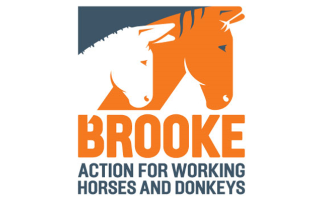 Brooke logo featuring solgan and a picture of a donkey and horse (left to right)