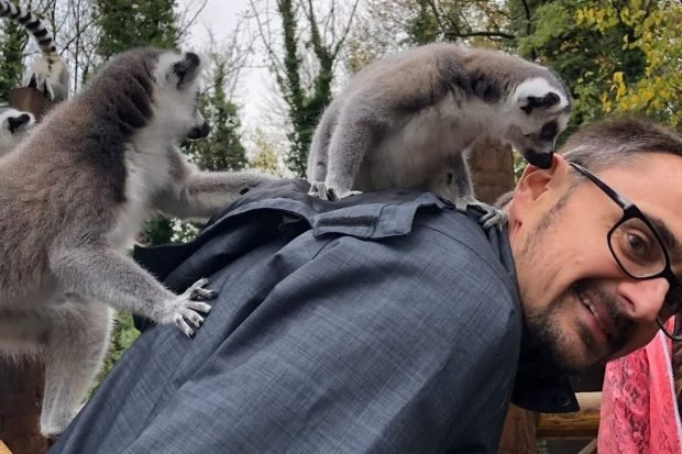 rob with two lemurs